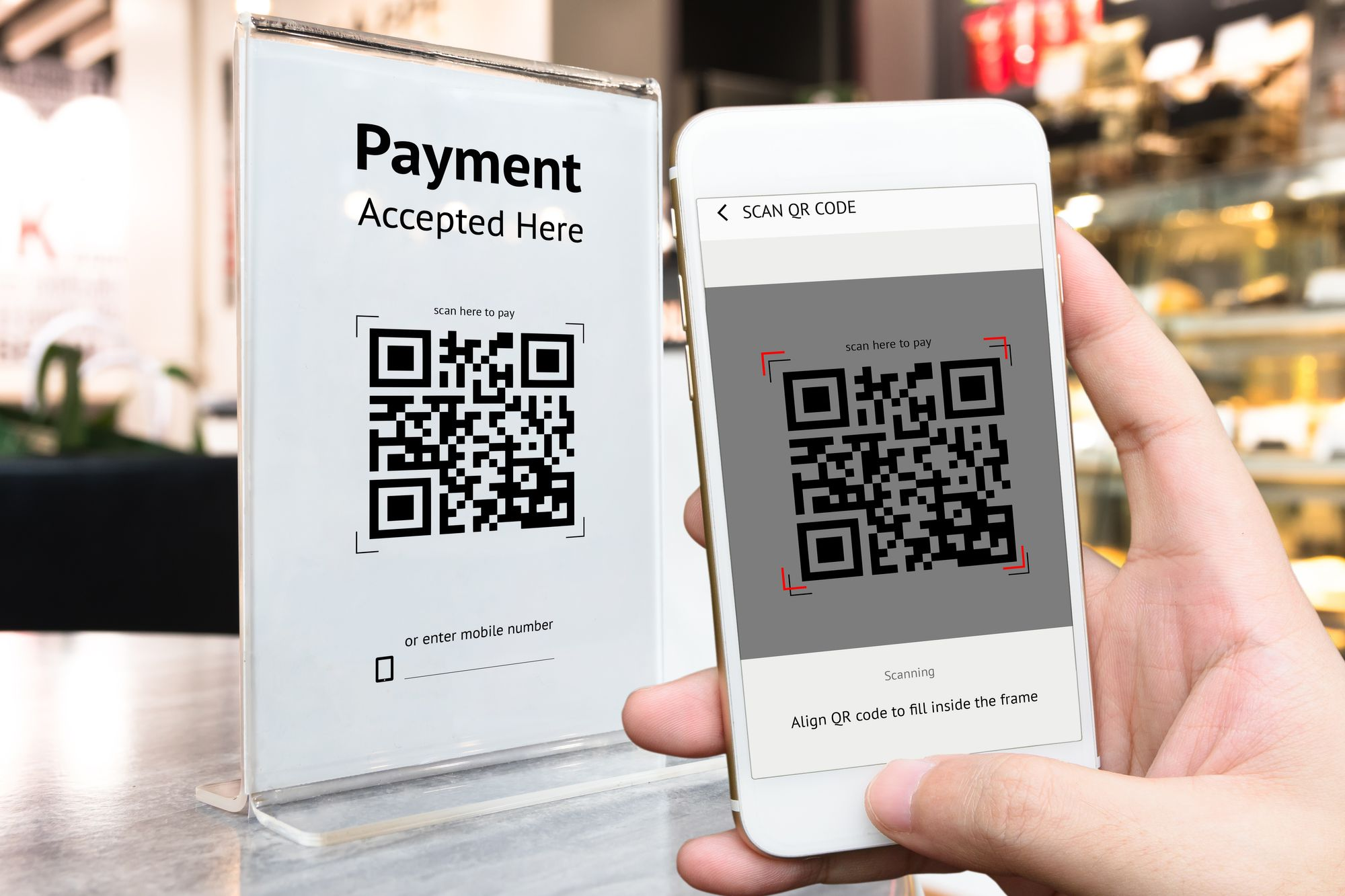 phone QR code payment scan mobile digital